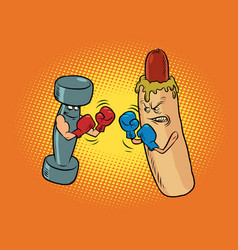 hot dog and dumbbell boxing healthy and harmful vector image