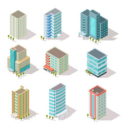Isometric buildings business offices apartment vector