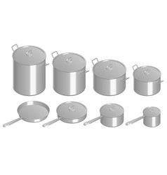 isometric set stainless pots and pan with glass vector image