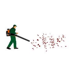 Landscaper operating petrol leaf blower in park vector