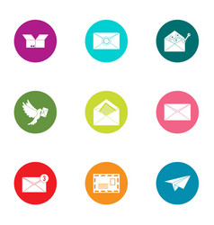 Letter delivery icons set flat style vector