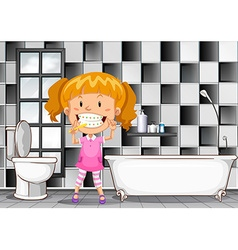 Little girl brushing teeth in bathroom vector image