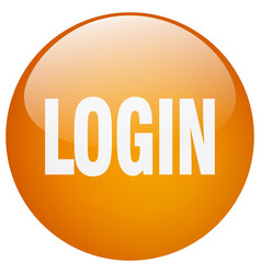 Login orange round gel isolated push button vector