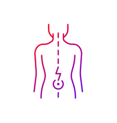Lower back pain gradient linear icon vector