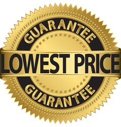 Lowest price guarantee gold label vector image