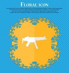 Machine gun Floral flat design on a blue abstract vector