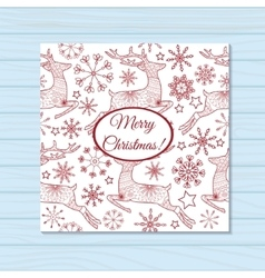 Merry christmas card with deers on wooden vector image