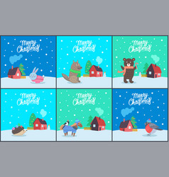 merry christmas poster with animals set vector image