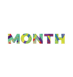 Month concept retro colorful word art vector