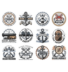 nautical anchor sea ship rope and chain icons vector image