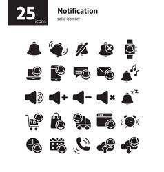 notification solid icon set vector image