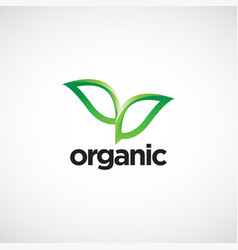 organic leaves logo symbol icon vector image