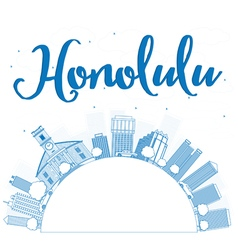 Outline Honolulu Hawaii skyline with blue building vector image