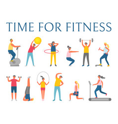 people doing exercise time for fitness vector image