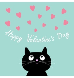 Pink hearts and cute cartoon cat Flat design style vector image