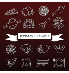 Pizza outline icons vector
