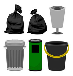plastic and metallic bins black plastic bags for vector image