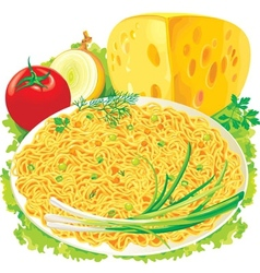 Plate spaghetti with vegetables vector