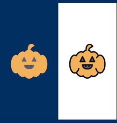 Pumpkin american usa icons flat and line filled vector