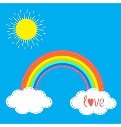 Rainbow clouds and sun in the sky Dash line Love vector image