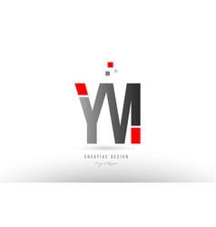 Red grey alphabet letter ym y m logo combination vector
