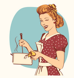 Retro young woman in clothes cooking soup vector