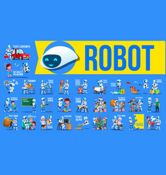 robot helper set future lifestyle vector image