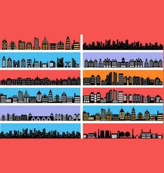 set city landscape silhouettes vector image