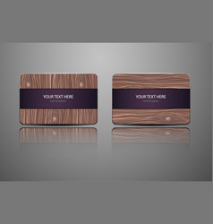 set natural gift cards wooden credit cards vector image