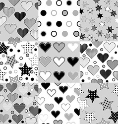 Set of black and white seamless background vector image