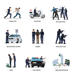 Set policeman at work concept vector