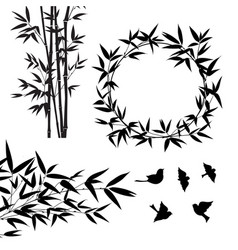 set tropical bamboo elements collection vector image
