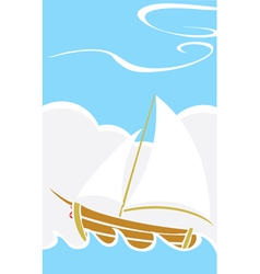 Simple Boat at Sea vector