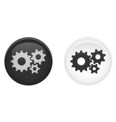 simple settings 3d button gearscog wheel symbol vector image