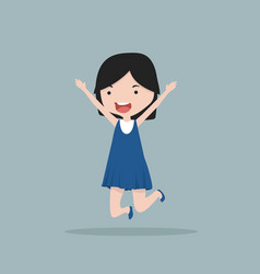 small girl jumping and laughing vector image