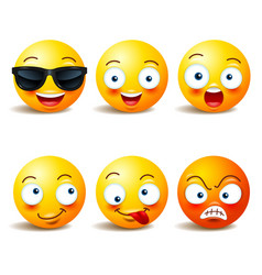 Smiley face icons or yellow emoticons with vector