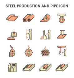 Steel production industry and metallurgy icon vector