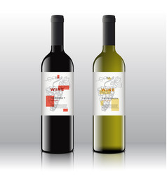 Stylish contemporary art red and white wine labels vector