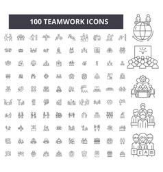 teamwork editable line icons 100 set vector image