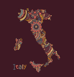 Textured map italy in hand vector