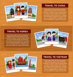 Travel to asia set of horizontal web banners with vector