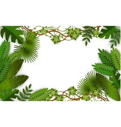tropical jungle frame with green leaves from vector image