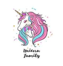 Unicorn family love magic dream vector