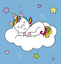 Unicorn sleeping on top of a cloud vector
