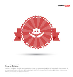 user in hand icon - red ribbon banner vector image