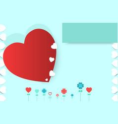 valentines day with heart red and white pattern vector image