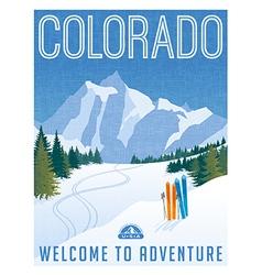 vintage travel poster or sticker colorado vector image
