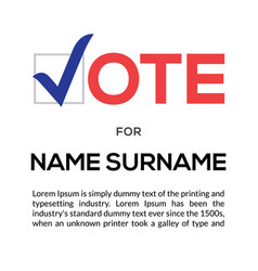 vote icon election sign check logo vector image