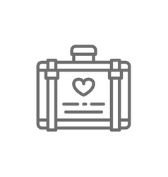 Wedding luggage suitcase for honeymoon line icon vector