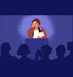 Woman feeling fear and anxiety before stage speech vector